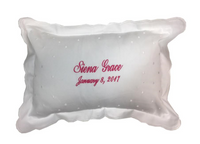 Personalized Baby Pillow with White Dots in Pink