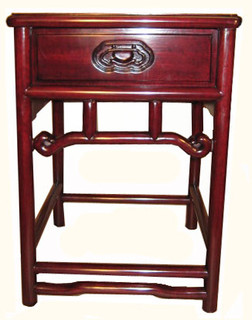 Carved Peking style solid rosewood end table