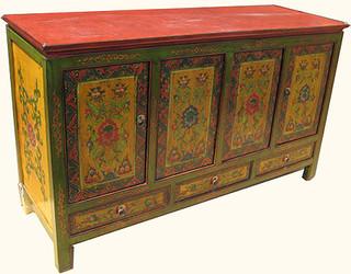 55 inch wide three drawer, four door Tibetan elmwood buffet with shelf