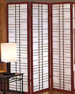 "71 inch tall Soho screen or room divider of rosewood and paper. 3 panels, each 17.75 "" wide"