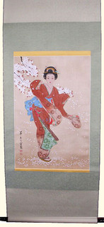 Silk scroll: lady with plum blossoms