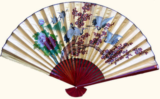 35 inch high gold fan with cranes