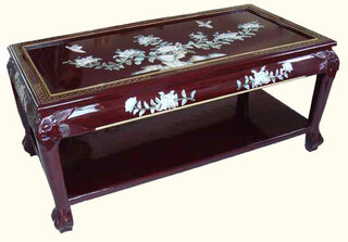 40  inchOriental Coffee table with shelf, inlaid pearl at import direct pricing.