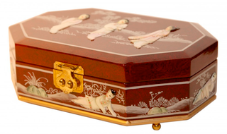 French Red Oriental Jewelry Box With Mother of Pearl Inlay