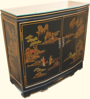32  inch Wide slant front Oriental cabinet with glass top and shelf at Import direct pricing.