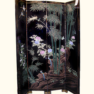 4 Panel 84  inches  high black with bamboo hand painted Oriental Floor Screen at import direct pricing.