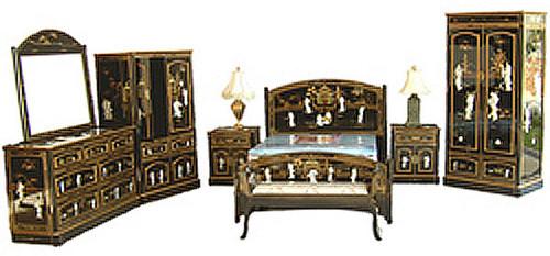 8 Pc Oriental Bedroom Set Shiny Black Pearl Inlaid Oriental Furnishings