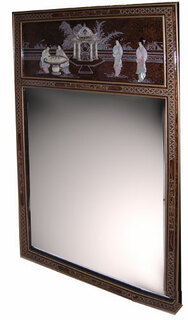 42  inches  high. Oriental Mirror in French brown tortoise shell and pearl inlays value hand made imports.