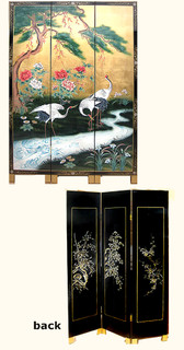 Three panel 72 inch tall hand painted  cranes and pine tree design Chinese lacquer oriental screen