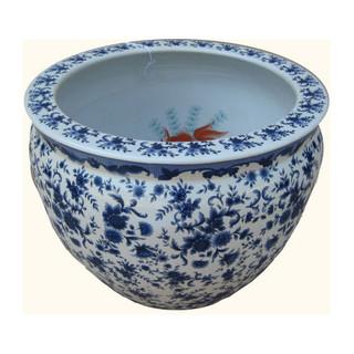 Oriental Blue and White Porcelain Fish Bowl Planter Glazed 1000 Flowers Pattern