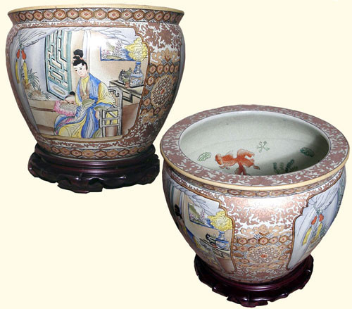Oriental Porcelain Fish Bowl Planter With Geisha And Child