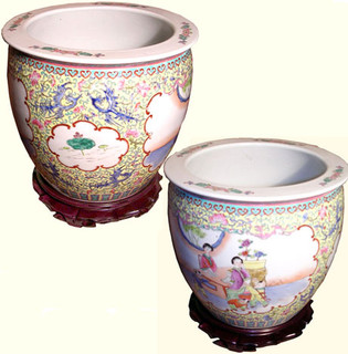 Jingdezhen Oriental porcelain fishbowl planter for indoor or outdoor use.