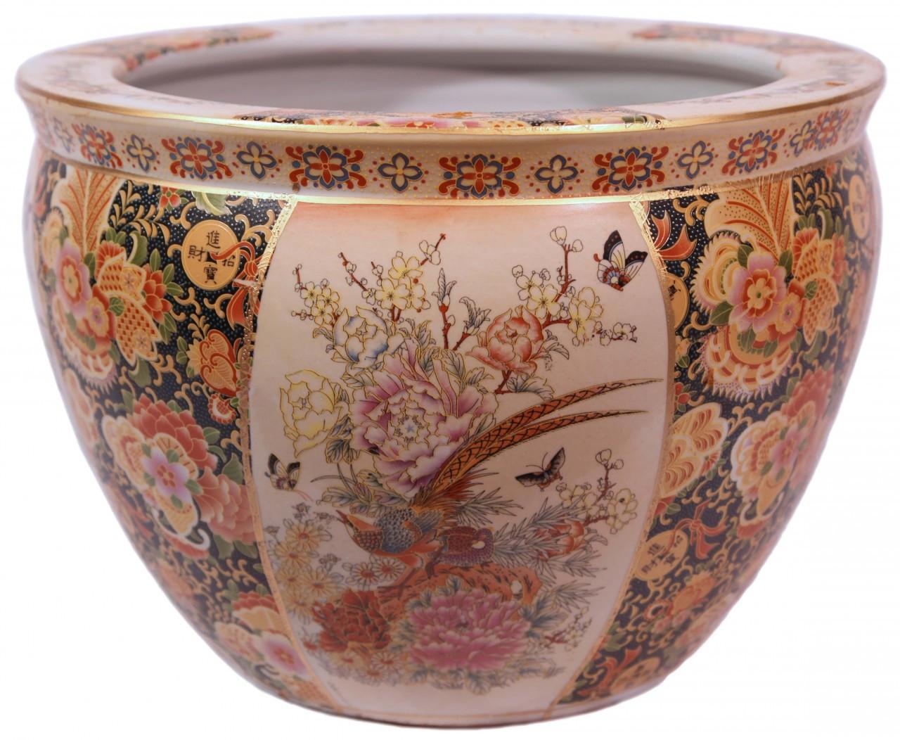 Chinese Porcelain Fish Bowl Planters Satsuma Pheasant