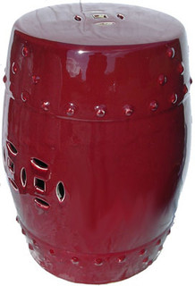 18 inch tall oxblood porcelain stool
