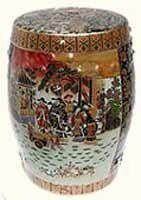 Oriental Porcelain Garden Stool with Satsuma Lady Design