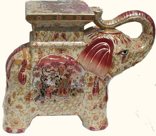Charming Elephant Porcelain Stool