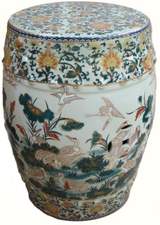 18 inch tall porcelain  garden stool