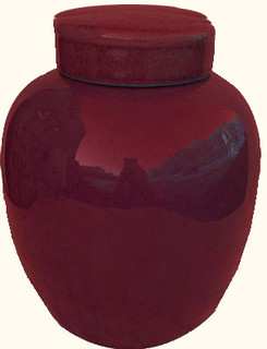 10 inch high  Chinese porcelain radish jar in oxblood red glaze. Import direct pricing!
