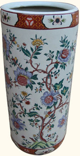 18 inch high  Chinese porcelain umbrella stand with hand painted chrysanthemum flower design