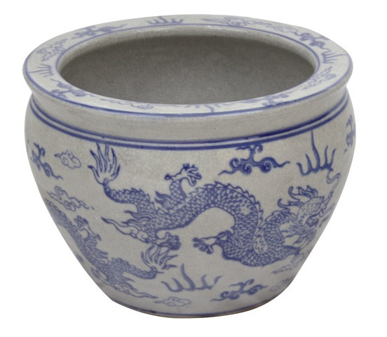 Blue and white dragon porcelain fish bowl planters for Chinese fish bowl planter