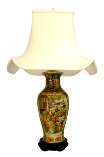 Oriental porcelain lamp painted satsuma lady design with pagoda shade