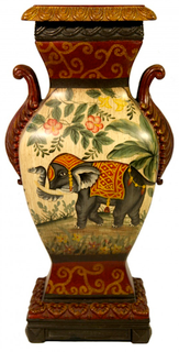 Imperial Asian Elephant Porcelain Vase