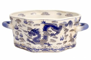 """14"""" Hand Painted Oriental Blue and White Dragon Porcelain Table Bowl"""