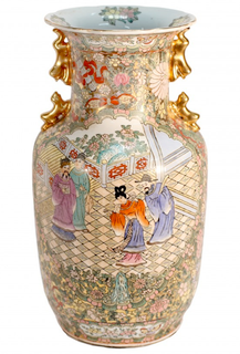 "15"" H Chinese Hand Painted Four Dragon Rose Medalion Porcelain Vase"