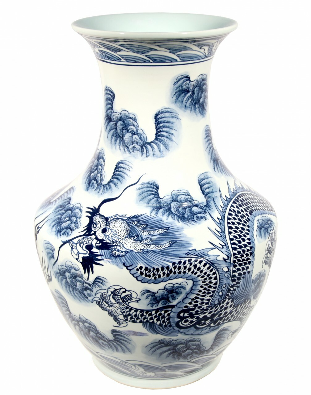 Blue And White Hand Painted Dragon Porcelain Vase