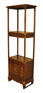 """69""""H Wooden Korean Bookcase with Six Drawers"""
