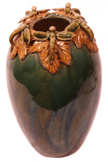 Green dragon fly vase
