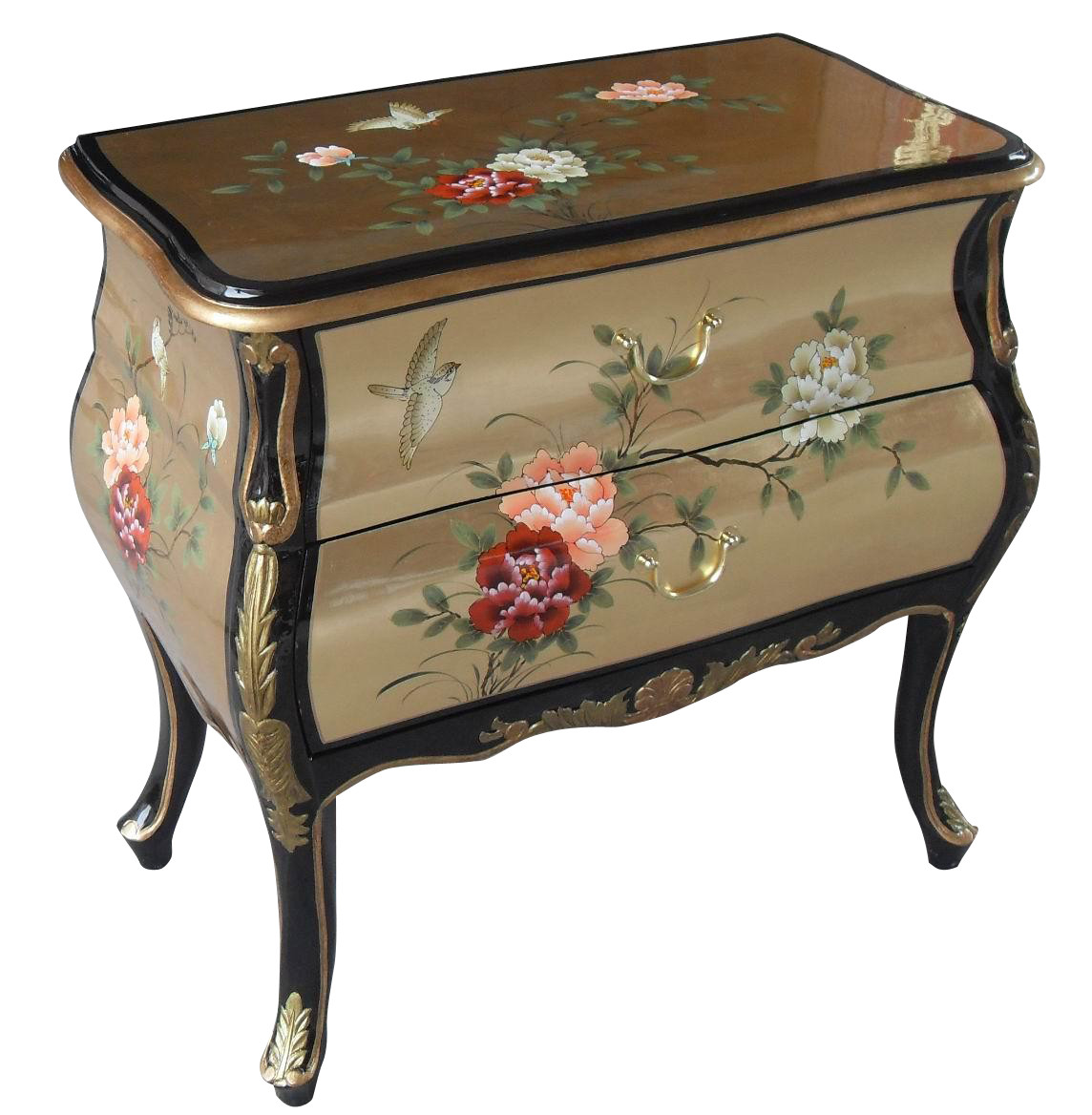 30 wide oriental bombe chest of drawer hand painted for Hand painted oriental furniture