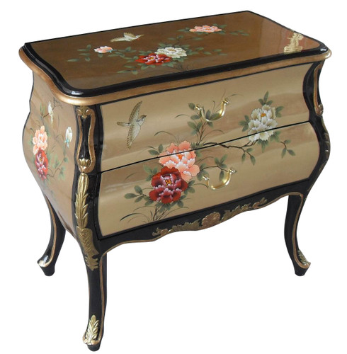 30 Quot Wide Oriental Bombe Chest Of Drawer Hand Painted