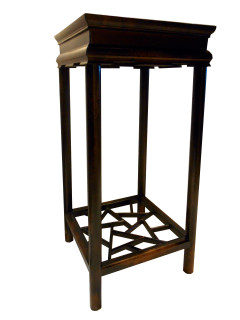 Oriental Splayed Plant Stand with Crackle Ice Shelf