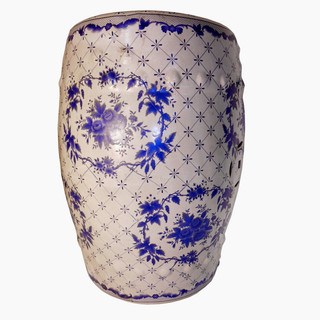 Blue and White Porcelain Garden Stool in European Floral Pattern
