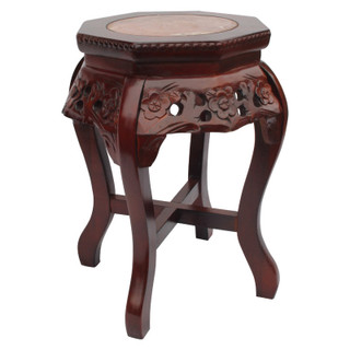 "18""H. Hexagonal Oriental Marble top Stand with Floral Carving"