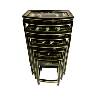 Chinese black lacquer coromandel stacking wedding box for Chinese furniture norwalk ct