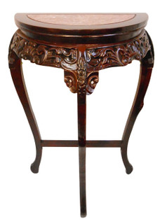 Marble Top 1/2 Moon Carved Wooden Table