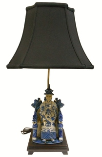 Blue and White Porcelain Siting Emperor Lamp.