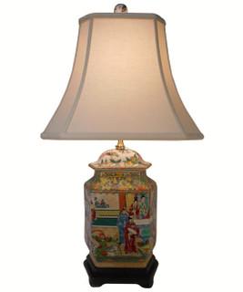 Rose Medallion Porcelain Lamp