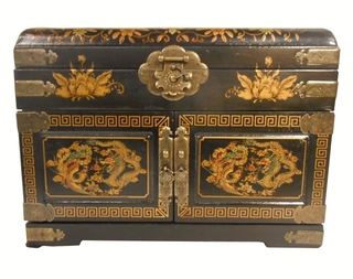 """9""""H King and Queen Oriental Jewelry Box"""