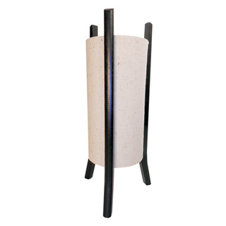 "18""H. Jute Fiber Modern Chinese Table Lamp with Black Lacquer Wooden Legs"