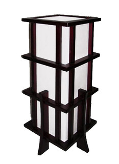 "17""H. Asian Pacific Wooden Table Lamp in Black Lacquer with a Rosewood Frame, In line on /off switch"