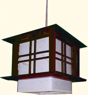 8 inch tall Pacific hanging lamp. Dark walnut frame