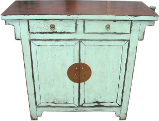 Chinese Antique Hall Chest Refinished In Stunning Turquoise Blue .