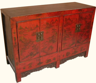 "Shanxi antique 50 "" wide elmwood painted buffet"