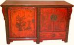 Shanxi antique landscape painted elmwood buffet