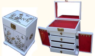 "16""H. White and Inlaid Mother of Pearl oriental jewelry box, felt lined with vanity mirror!"