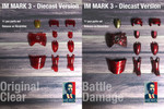 1/6 Battle Damaged/ Red Clear Armor Fit Hot Toys Diecast Iron Man Mark 3 Figure