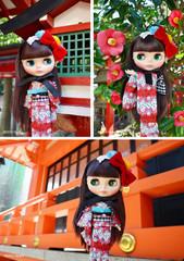 "Takara CWC 12"" Neo Blythe Doll Kimono Lady Camellia"